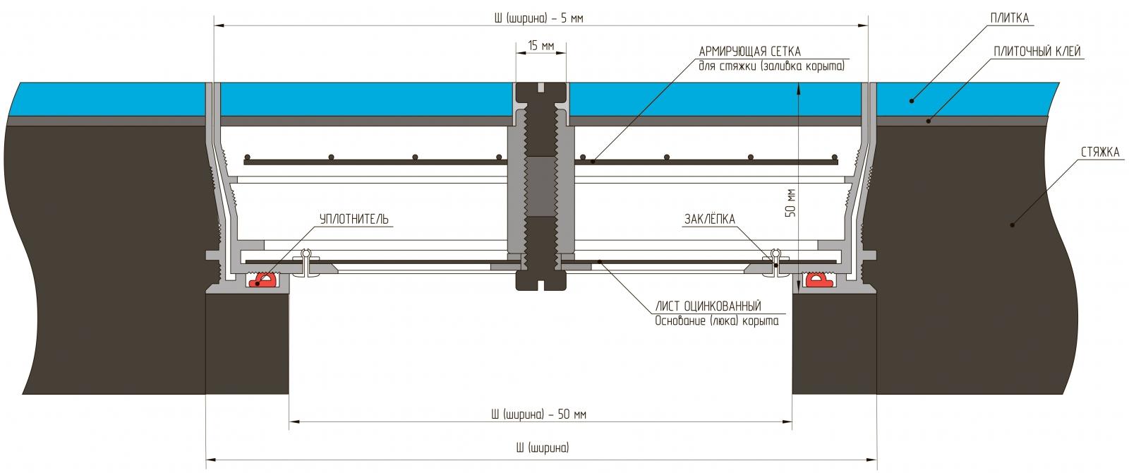 Напольный люк Инспектор (Алкрафт) - схема установки