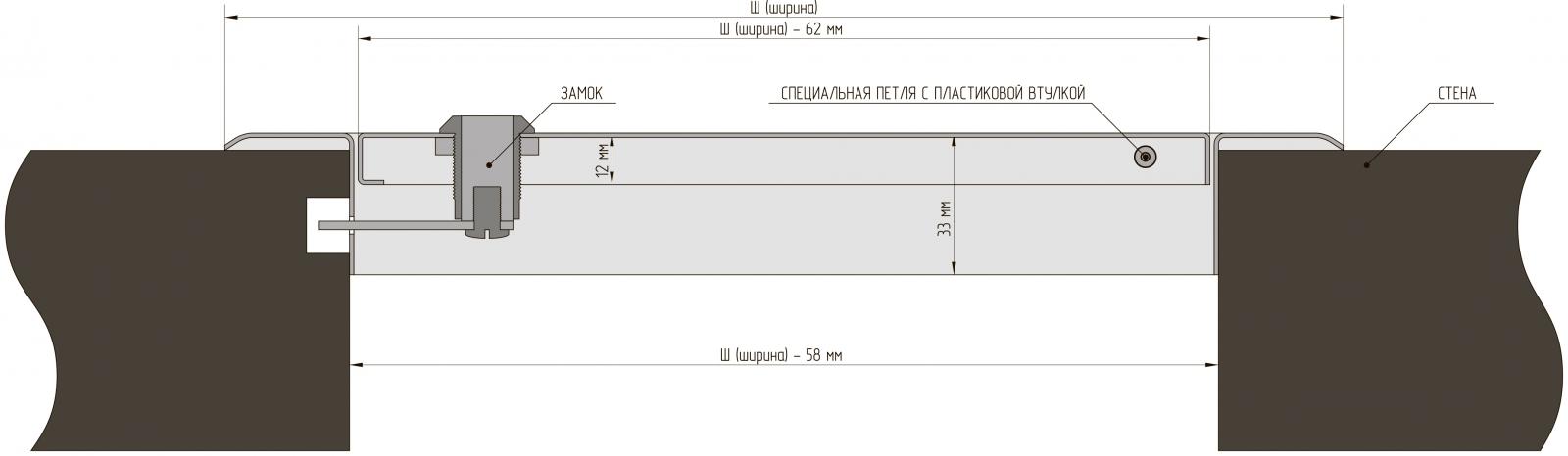 Металлическая люк-дверца с замком (Алкрафт) схема установки